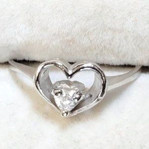 Silver Cubic Zirconia Heart Shaped Ring